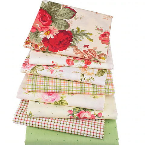 Fat Quarters - 8 Pc. PREMIUM Lot - Rose Printed Twill Cotton Fabric Material
