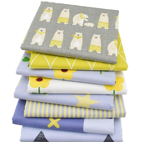 Fat Quarters - 8 Pc. Lot - Yellow-Accent Cotton Twill Fabric Patchwork