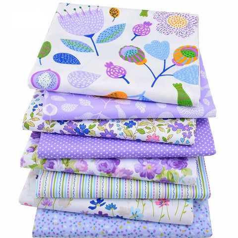 Fat Quarters - 8 Pc. PREMIUM Lot - Cotton Twill Lilac Fabric Patchwork
