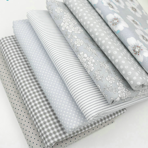 Fat Quarters - 7 Pc Lot - Grey Cotton Fabric Set