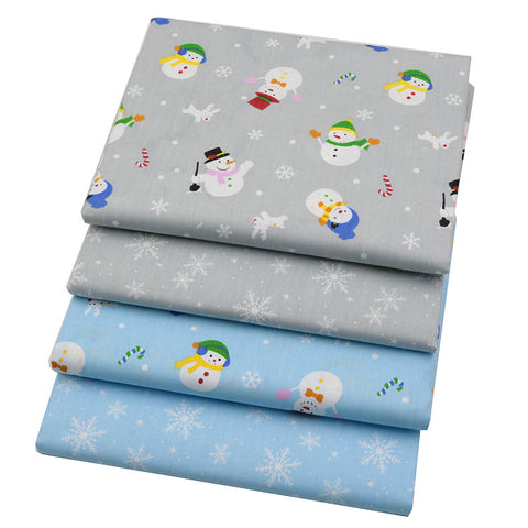 4-Piece Snowman and Snowflake Cotton Linen Fabric Lot