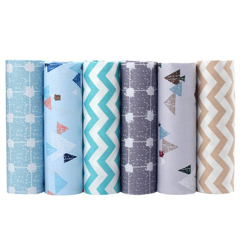 6-Piece Modern Winter Scenery Cotton Linen Fabric Lot