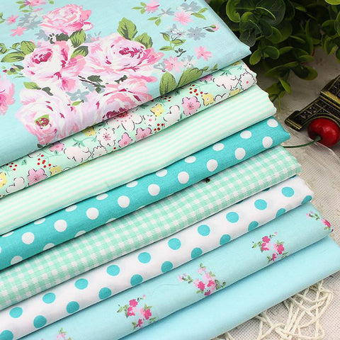 Fat Quarters - 8 Pc Lot - Victoria Flower Print Cotton Fabric Set