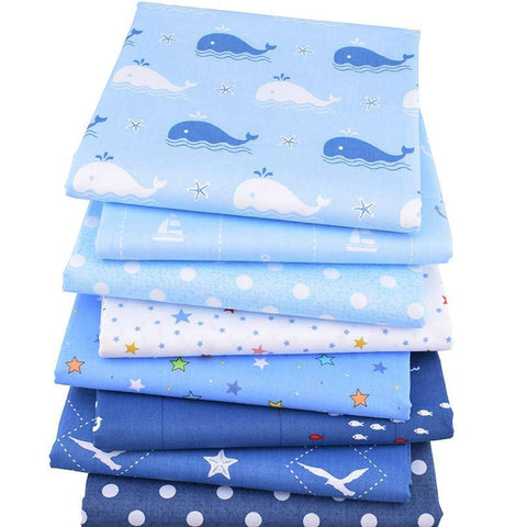 Fat Quarters - 8 Pc. PREMIUM Lot - Blue Print Cotton Twill Fabric