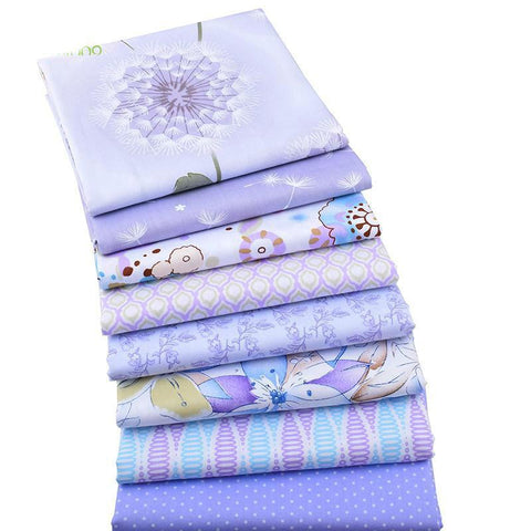 8-Piece Purple Cotton Twill Fabric