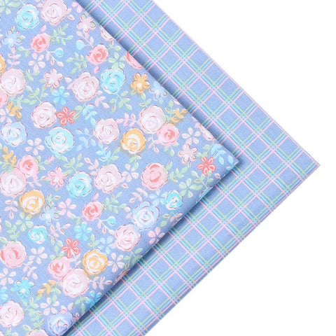 2 Piece Lot Patchwork Fabric Blue Series