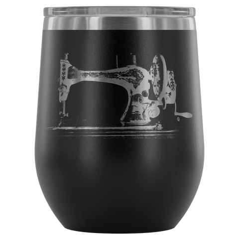 Modern Vintage Sewing Machine Wine Tumbler