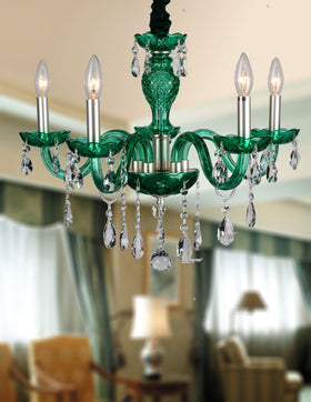 Gloria 5 Light Chandelier (Green)