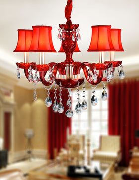 Gloria 5 Light Chandelier (Red)