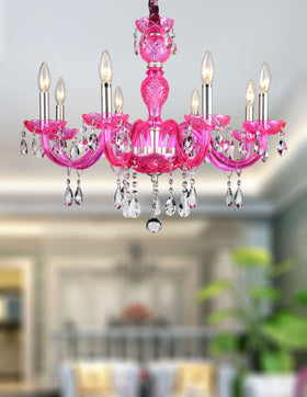 Gloria 8-Light Chandelier (Pink)
