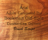 Engraved Text on English Walnut