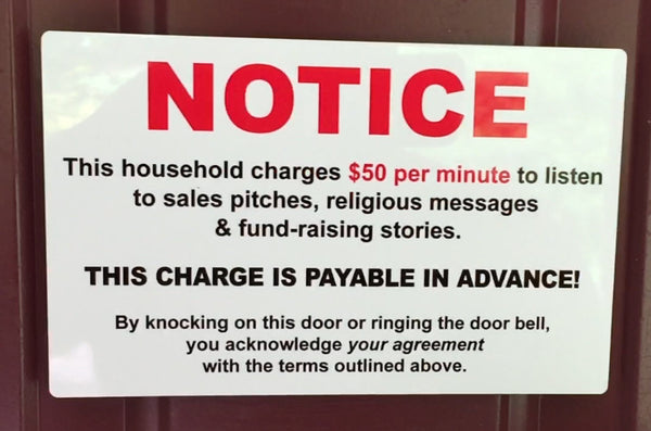 "Fun ""No Soliciting"" Sign"