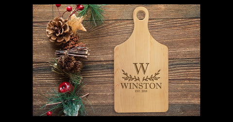 Engraved Maple Cutting Board - Paddle Shaped