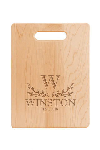 Engraved Maple Cutting Board - With Handle