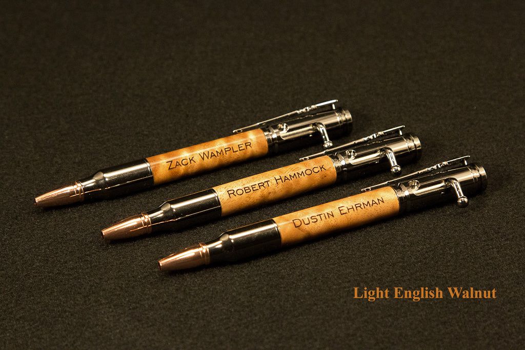 Handcrafted Ballpoint Pen Bolt Action 30 Caliber Mount Airy Woodcraft Visioncraft