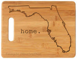 Bamboo cutting board state pride engraved - Florida