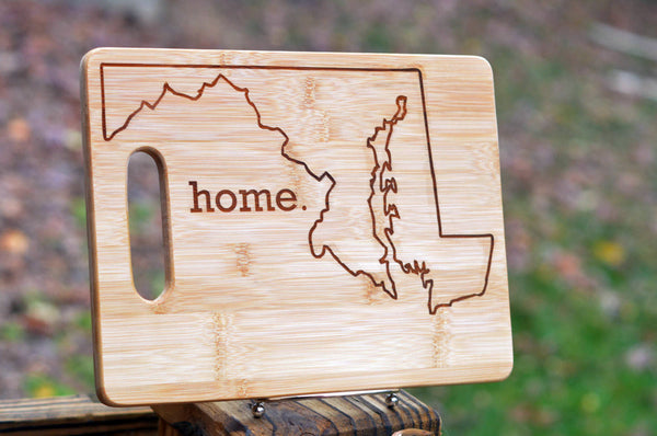 Bamboo cutting board state pride engraved - Maryland