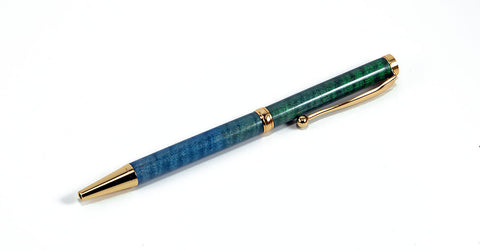 Handcrafted Ballpoint Pen - Slimline Dyed Curly Maple