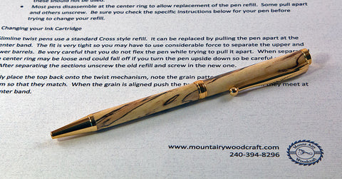 Handcrafted Ballpoint Pen - Slimline Spalted Maple