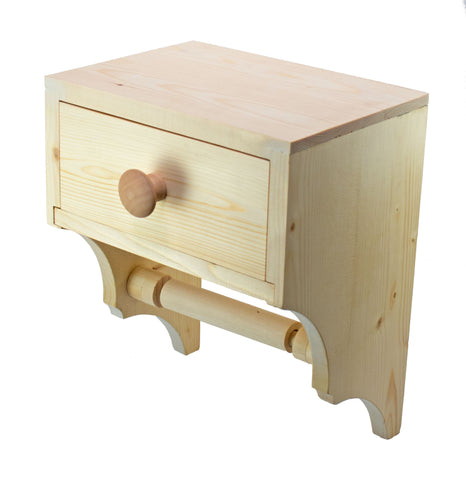 A unique wooden toilet tissue holder with convenient storage drawer. The storage drawer can be used to keep personal hygiene products discreetly close at hand.