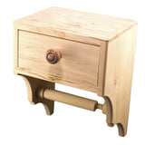 Unique Toilet Paper Holder with Convenience Drawer and Shelf - Premium Hardwood