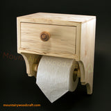 Toilet wipes and paper holder with convenient storage drawer and shelf. Made in the USA