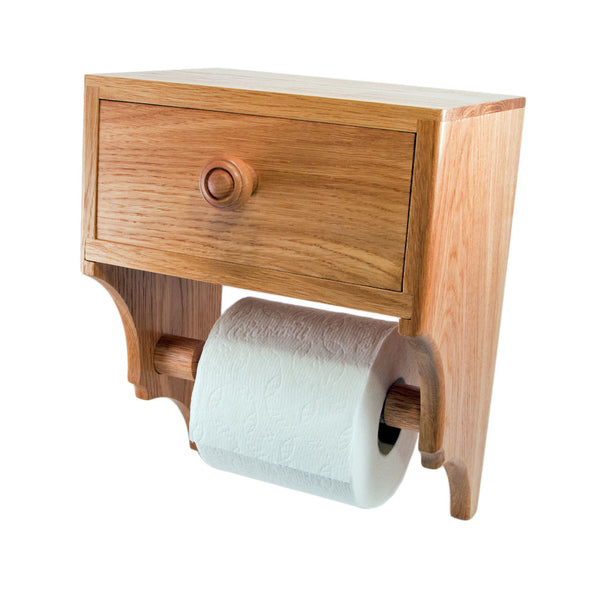 Unique Toilet Paper Holder with Convenience Drawer - Country Oak