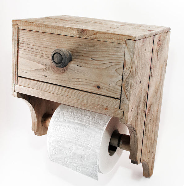 Toilet Paper Holder with Convenience Drawer - Rustic Reclaimed
