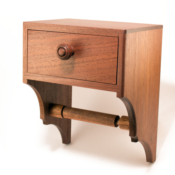 a wooden toilet tissue holder with convenient storage drawer the storage drawer can be used
