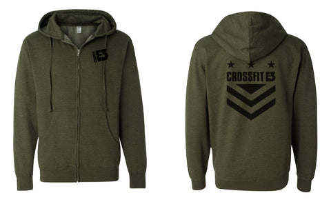Midweight Hooded Full-Zip Sweatshirt in Army Heather (SS4500Z)