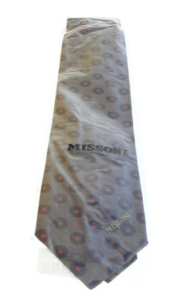 Missoni U5027 Gray/Black Polka Dots 100% Silk Tie