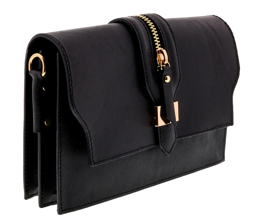 Black Leather Clutch/Shoulder Bag