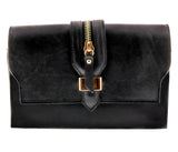 HS1168 NR CLO  Black Leather Clutch/Shoulder Bag
