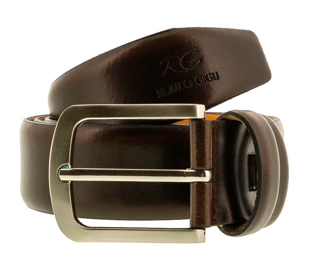 Romeo Gigli  Dark Brown Leather Adjustable Mens Belt