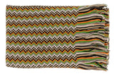 Missoni D4898 0003 Green/Beige Wool Blend Crochet Knit Zigzag Scarf