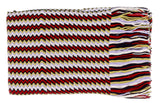 Missoni D4900 0002 Red/White Wool Blend Crochet Knit Zigzag Scarf