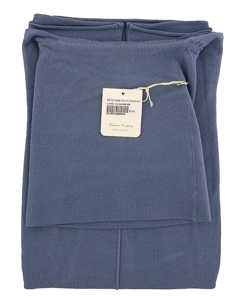 Cashmere Company VESTITO COLLO ALT Blue Cashmere Blend Rolled Neck Dress