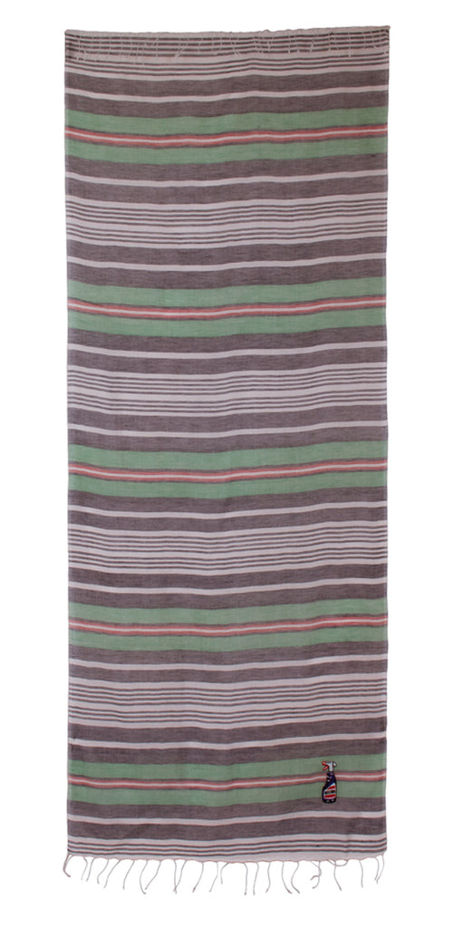 Moschino SCRR11009/3 Grey/Green Stripe Scarf