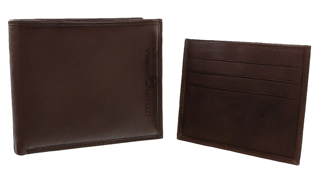 Luciano Barbera CLUB SASA MORO Brown Leather Wallet