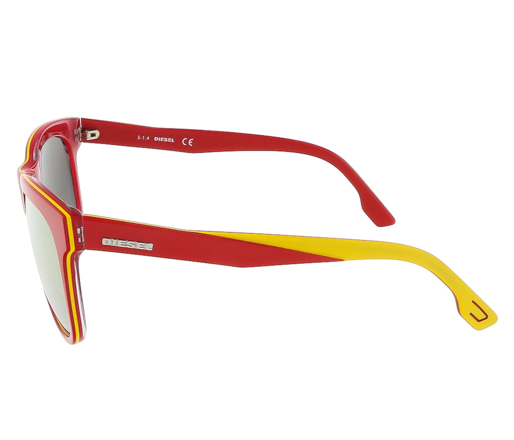 Diesel DL0112/S 68G Red/Yellow&Clear Rectangle sunglasses