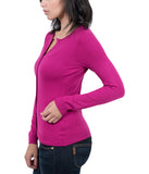 Real Cashmere Fuschia Crewneck Cardigan Womens Sweater