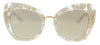 Dolce & Gabbana DG4319 31535A Gold Lace Cat Eye Sunglasses