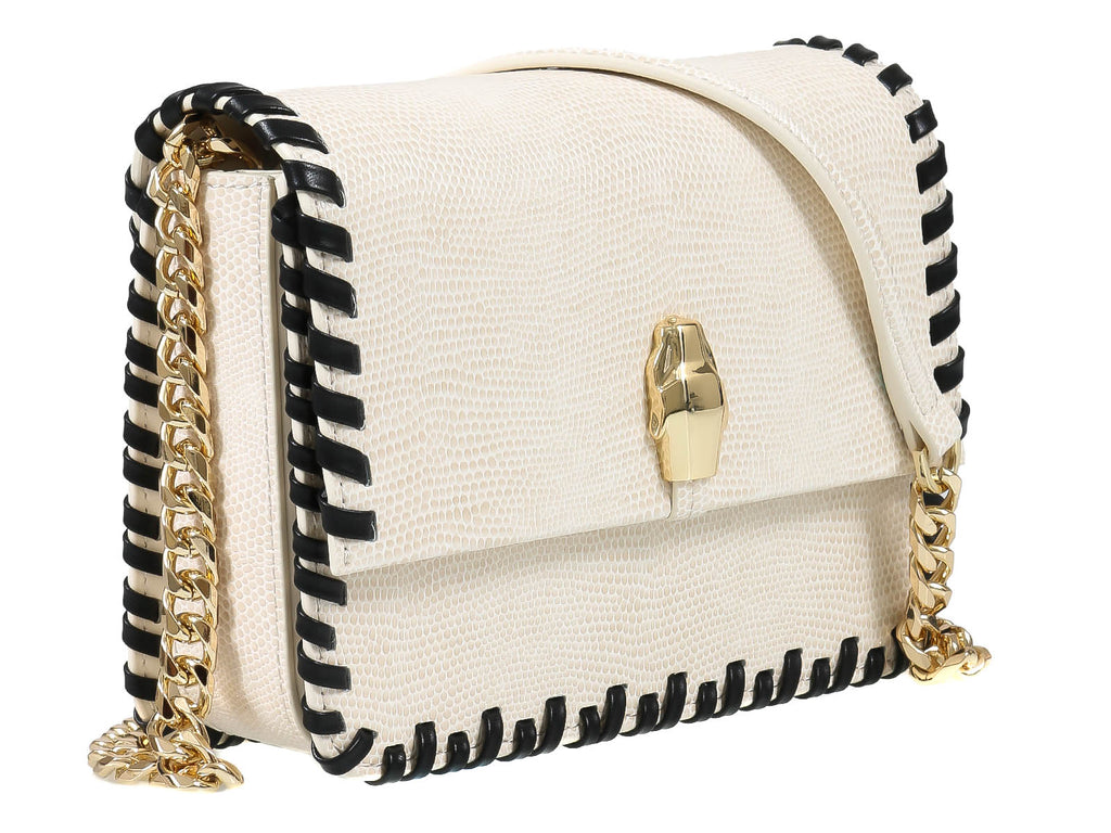 Roberto Cavalli Class  Milano Rmx 0 White/Black Medium Shoulder Bag