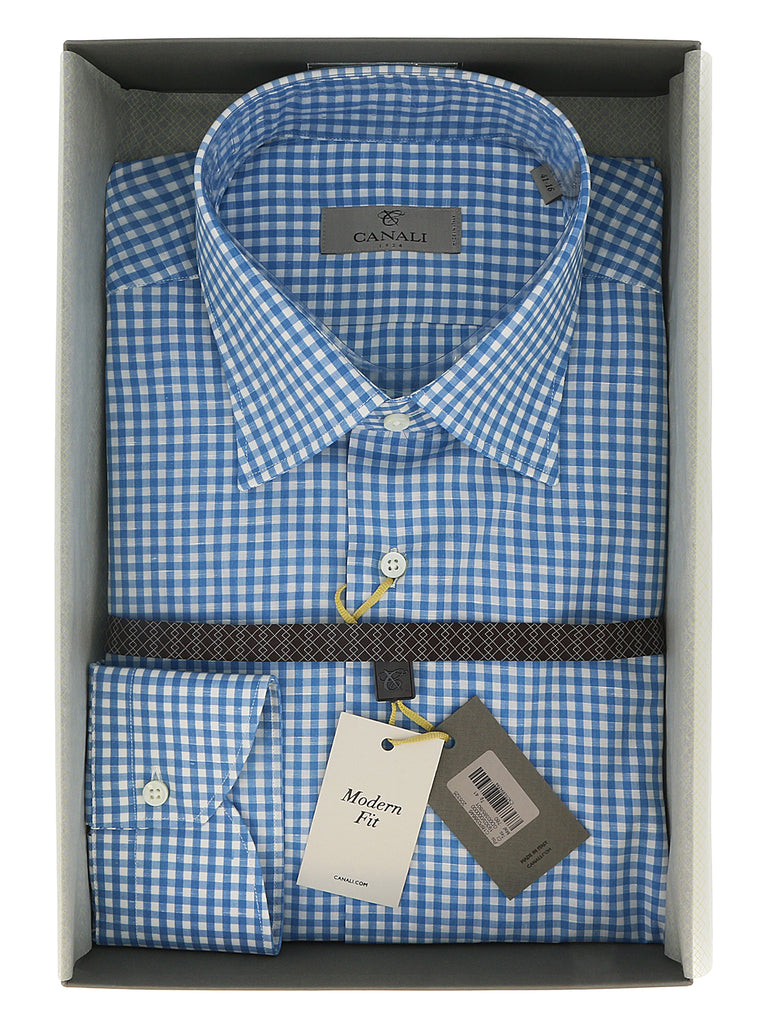 Canali Blue Gingham Formal Shirts