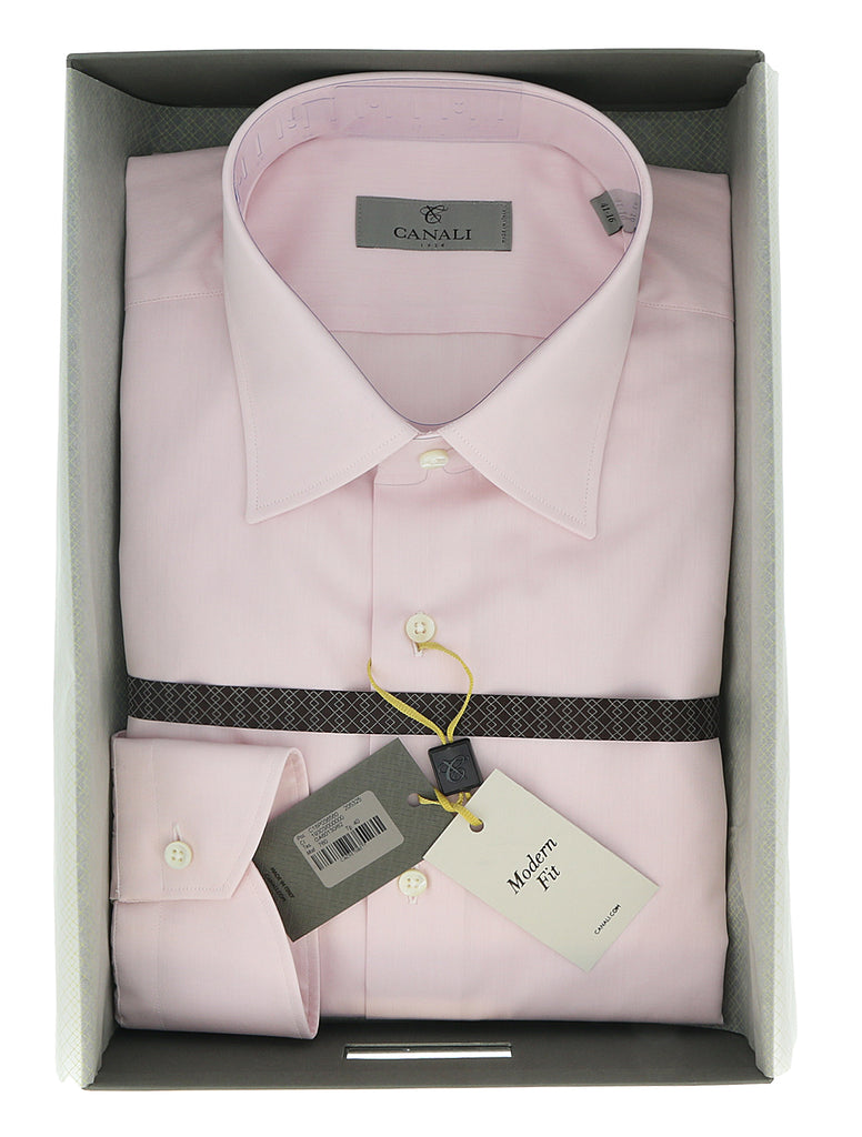 Canali Pink Solid Formal Shirts