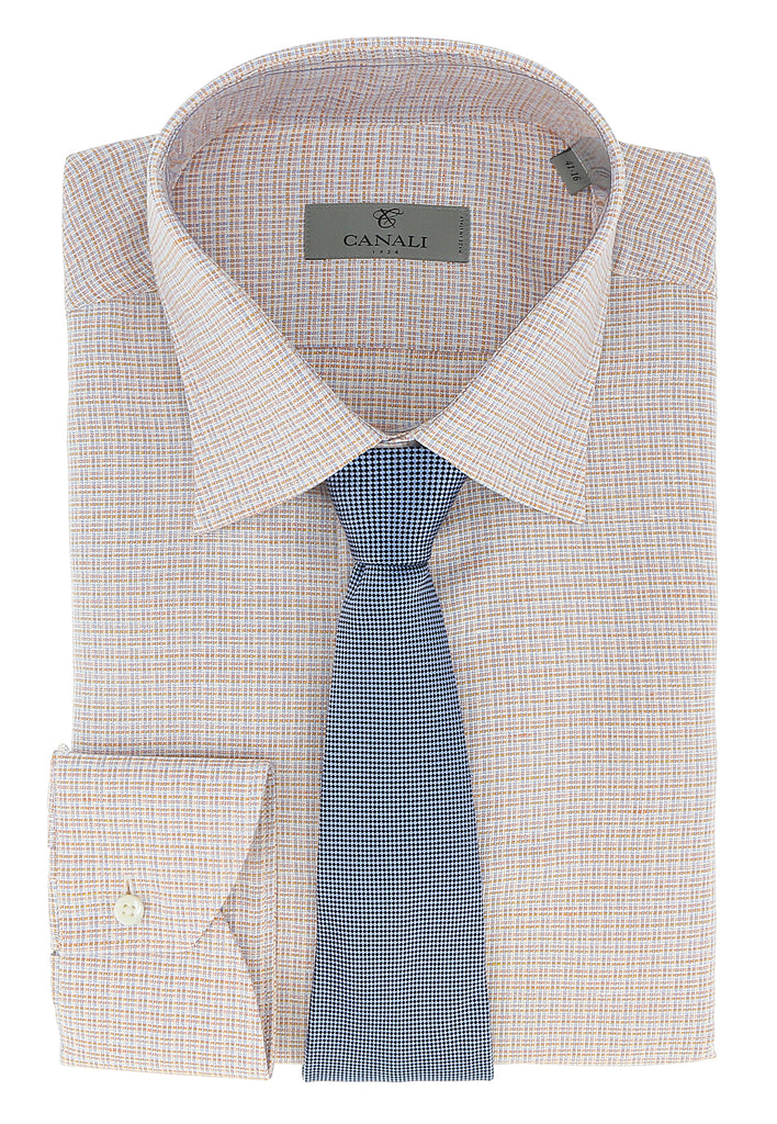 Canali Orange/Blue Tattersall Check Formal Shirts