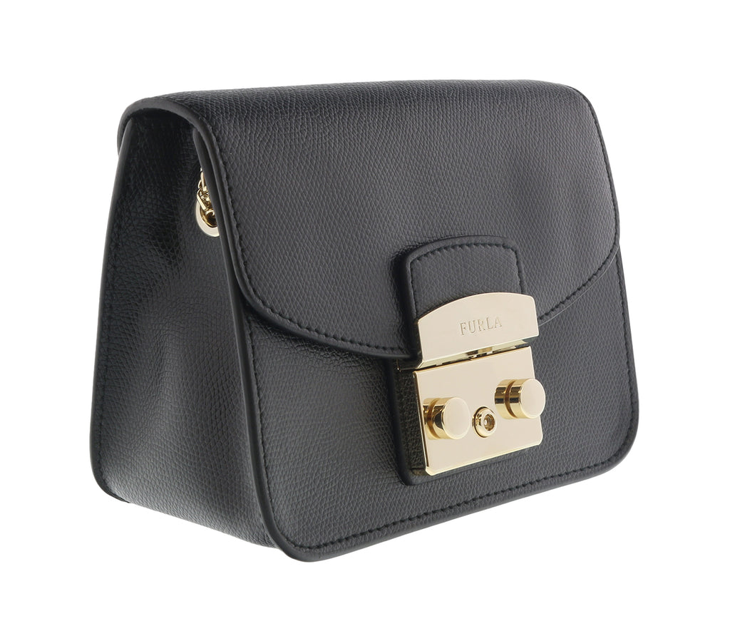 FURLA METROPOLIS  Black  Crossbody Bag w/chain