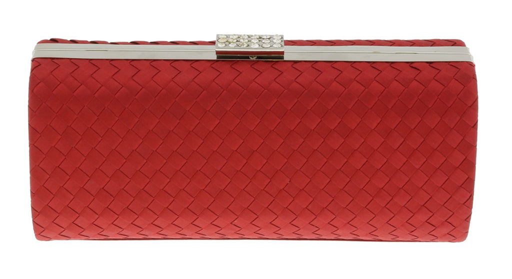 Scheilan  Red Fabric Weave Box Clutch/Shoulder Bag