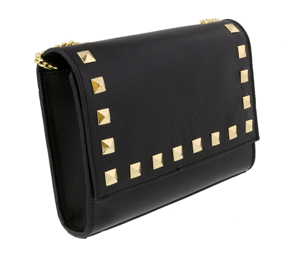 Scheilan  Black Leather Studded Flap  Shoulder Bag