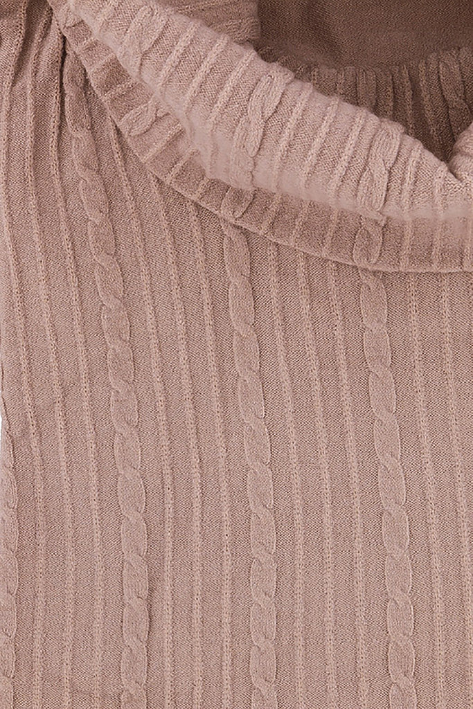 Cashmere Company COLLONE TRECCE RA Pink Cashmere Blend Rolled Neck Dress L